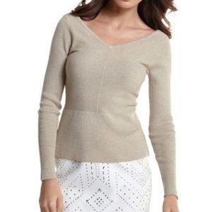 White House Black Market XS Gold Peplum Sweater